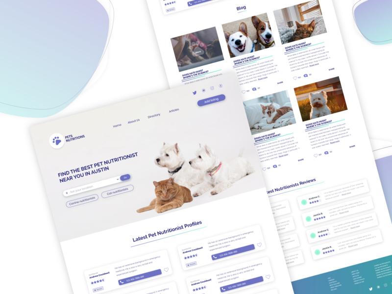 Pet Nutrionists Directory design ux web ecommerce illustration minimalist ui directory petcare interface dog cat animals veterinary vet pet