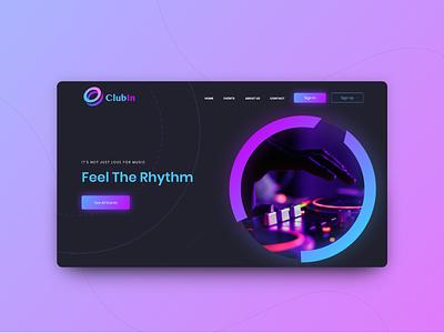Get Free Adobe XD Night Club Design Template ecommerce free ui kit freebie music web design website nightclub landing page branding design web ux ui