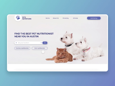Pet Nutrionists Directory pets cats vet clinics veterinary adobe xd web design branding minimalist minimal web ux ui design ecommerce