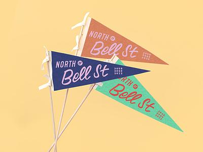 NOBS - North of Bell Street pennants location signwriter brushscript felt flag pennant