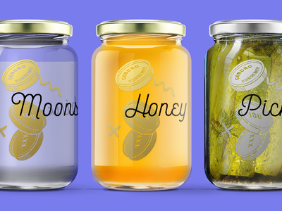 Coburg Currency jars bourton script bold preserves cooper black graphics packaging jars