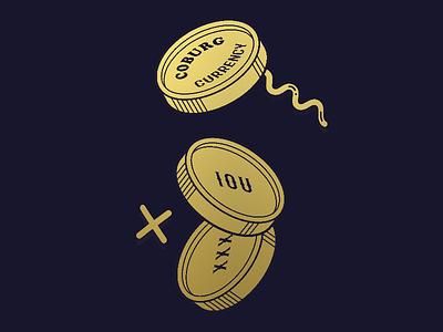 Coburg Currency logo barter currency coburg challenge jar coin cooper black branding
