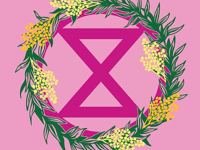 XRmas wreath linocut wreath activism christmas card actnow xrmas xmas