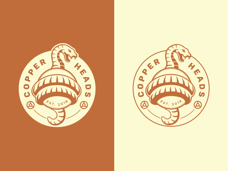 Copper Heads Logo illustrator illustration design copper snake logo brand design branding logos logo design logo