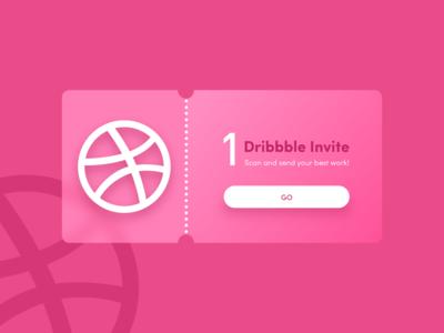 Dribbble invite pink logo invite ui xd