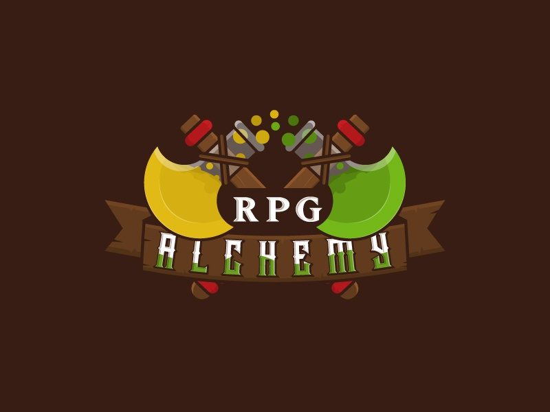 RPG Alchemy science strategy gaming logo games badge flask axe alchemy rpg