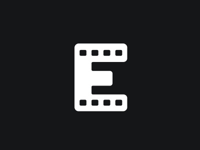 eMovie video tune roll filmroll film monogram movie logo e