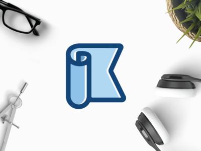 Paper K clean emblem identity monogram office sell buy k letter sheet paper logo