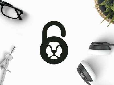 Lion Lock intact secured protected security safe locked locker shape king animal lion logo