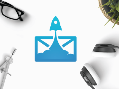 Mail Launch upload instant quick fast fly up launch rocket delivery letter mail logo