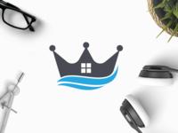 Royal Estates home water waves realtor agent house real estate crown buy estates logo