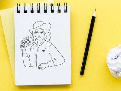 Cowgirl sketch cowgirl illustration professional logo illustrator logo design minimal lineart pencil sketch sketch drawing