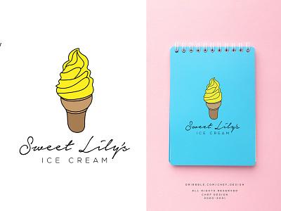 Sweet Lily s Ice Cream vector branding modern logo flat design simple logo professional logo illustrator classic modern ice cream logo hand drawn logo