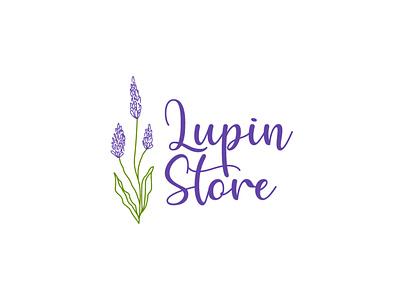 Lupin Store feminine script flower flower logo lupin natural hand made hand drawn logo botanical