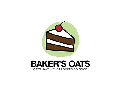 Bakers Oats strawberry cake logo simple logo oats bakery logo hand drawn graphic design illustrator logo design logo