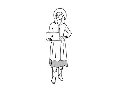 Girl Illustration line girl woman black minimal line art illustration graphic design illustrator logo design logo