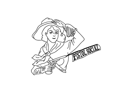 Cowgirl illustration design graphic design illustrator gun line art logo cowgirl black and white line art illustration