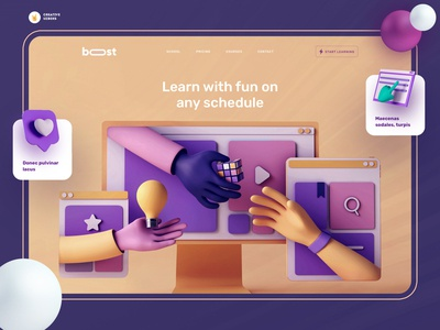 Online Learning Platform |  Concept Page education webdesig 3d art app minimal illustration onepage landing page ux typography web ui design