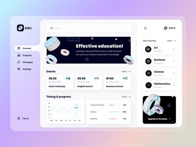 Learning platform - Web app ui ux online courses saas design system e-learning schedule interface platform classes cards courses learning events education dashboard product design web design arounda