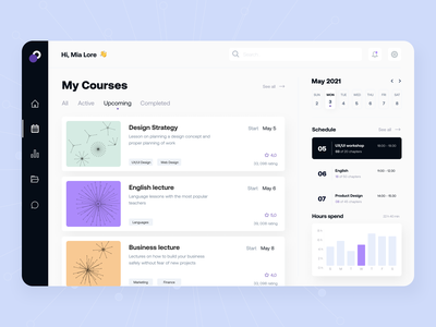 Learning platform - Web app online courses saas design system e-learning schedule interface platform cards courses learning events education dashboard product design web design arounda notification illustration event classes