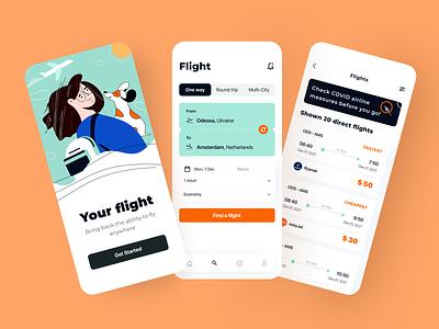 Traveling App - Mobile App ux app flight booking traveling flat dog puppy travel trip tickets graphic design ui plane design system interface illustration clouds arounda