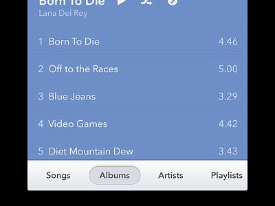 Music App iphone ios music apple simple clean player album song list itunes 11