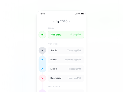 Polar - Timeline View diary tracker tracking mood week month light button mental health health medical ios iphone timeline list minimal simple ui