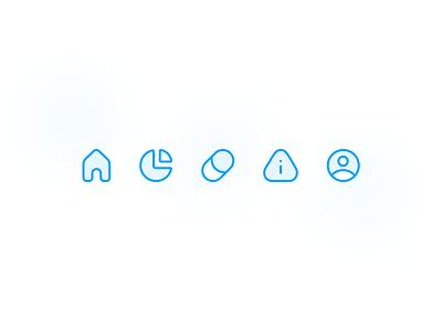 Polar - Glyph Exploration mental health biploar home profile stats pill medical medication lines tab bar icons glyph design minimal simple clean ui ios app iphone