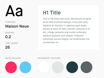 Style Guide maison neue h1 colours typeface text web ui guide style