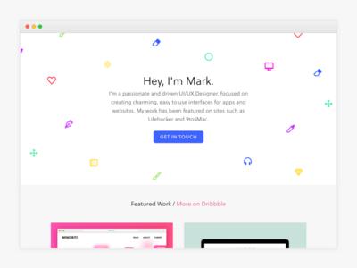 New Portfolio work simple clean glyphs confetti ux ui design web portfolio