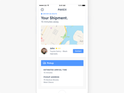Shipment Info Screen pickup driver minimal clean uber delivery uxshipment ui ios app iphone