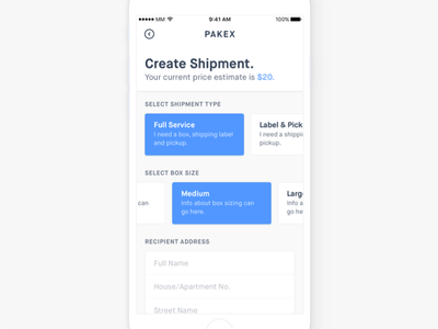 Shipment Creation Screen iphone app ios ui ux shipment delivery clean minimal pickup checkbox form