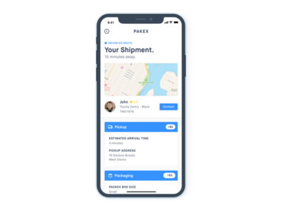 Shipment Info Screen - iPhone X iphone app ios ui shipment ux delivery uber clean minimal driver pickup