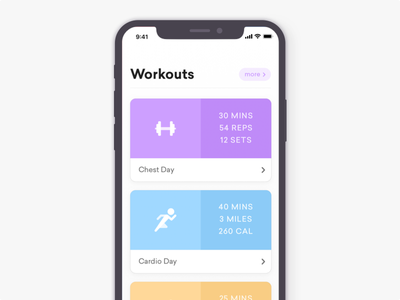 Workout App - iPhone X list minimal clean workout iphone x ux ui ios app iphone