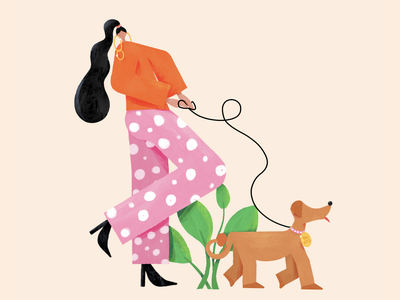 Bad B*tch illustration walking heels earings plant pet animal colorful colourful dog