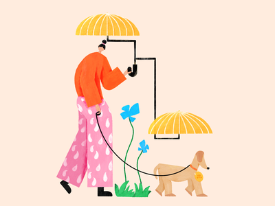 Sad B*tch person sad texture puppy flowers rain umbrella colourful animal pets dog ilustration