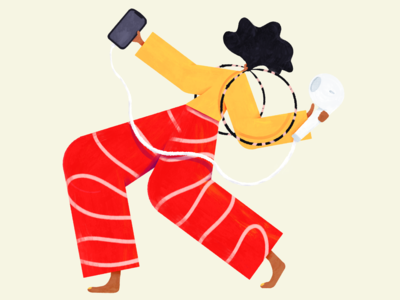 📻 drawing dancing iphone earrings texture red earpods speaker music illustration
