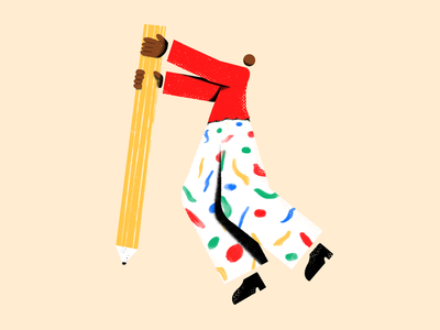 Pencil Person illustrator drawing color human abstract 2d stationary figure person pencil illustration