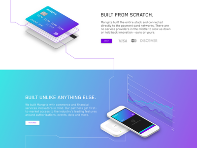 Isometric Home (3 Sections) payments api network grid layers 3d purple gradient marqeta emv credit card isometric