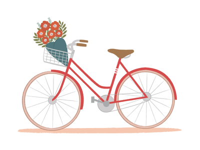 Bike With Flower Basket illustration wire basket fiets bicycle cycling vintage bouquet flowers bike