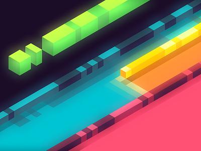 Lanes hexels vector green yellow blue pink glow isometric design wallpaper