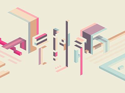 Glitch flat geometric vector hexels abstract isometric minimal design wallpaper