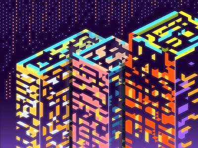 City Lights shapes geometric isometric hexels abstract vector design art wallpaper illustration
