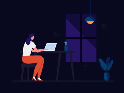 The women is working day and night for ui and ux