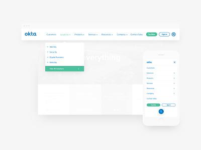 Okta Navigation Update web web design website corporate mobile dropdown navigation