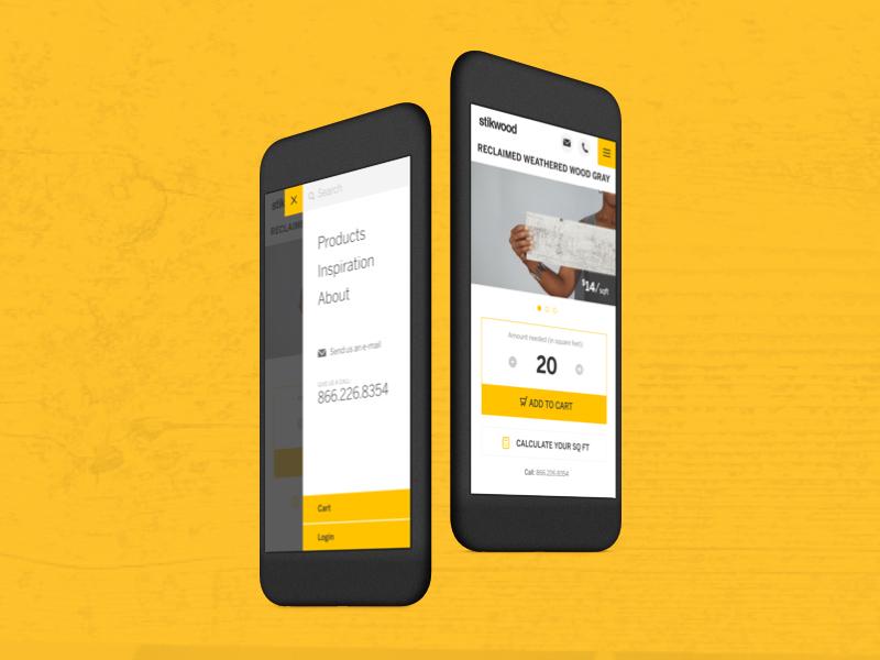 Stikwood website shopping ecommerce navigation web design mobile ui
