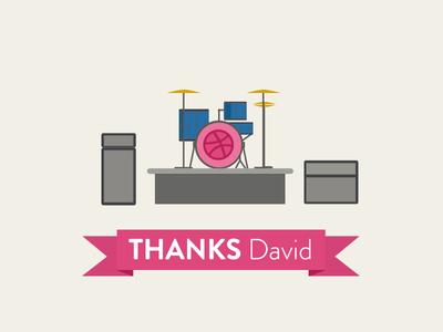 Thanks David Bilbo! drums ilustration music debut flat