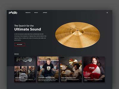 Paiste Cymbals Home Concept [WIP] ui landing  page drummer drums music swiss zildjian hero landing web cymbals paiste