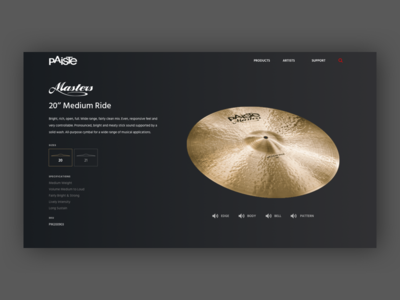 Paiste Cymbal Detail Concept product detail page uidesign cymbals web detail product cymbal paiste