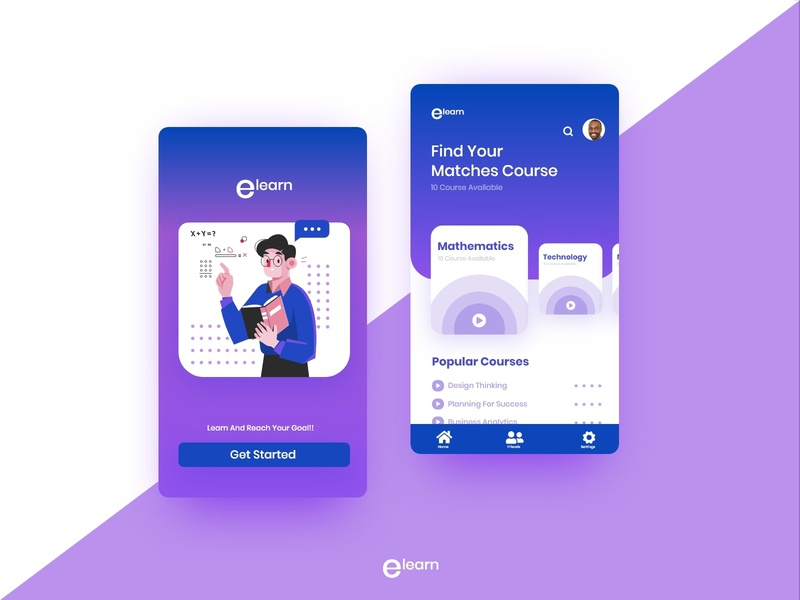 Education App for students || E learn quiz app student school learning platform learning app uidesigns minimalism minimalist education logo education app illustration dribbleartist vector illustration education uxdesign uidesign branding logo uiux ui